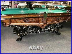 1880 Antique Brunswick Billiards Rosewood 9 Monarch Pool Table
