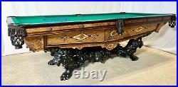1880's Brunswick Monarch Ash Burl 8 ft antique pool table Billiards