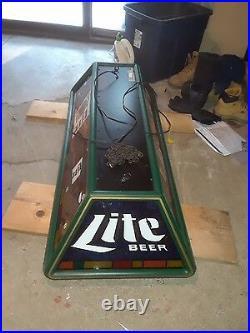 1990's Miller Lite Beer Pool Table Lamp Fixture Man Cave Bar Light