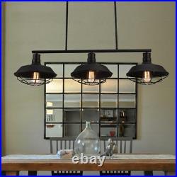 3 Light Wrought Iron Black Industrial LED Linear Island Pool Table Pendant Light