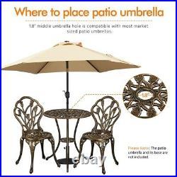 3 Piece Patio Bistro Set Garden Pool Table Set Outdoor Floral Design Dining Set