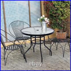 32 Patio Round Table Tempered Glass Steel Frame Outdoor Pool Yard Garden