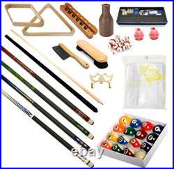32 piece Billiards Accessories Kit Pool Table Balls, Cues, Triangle, racks