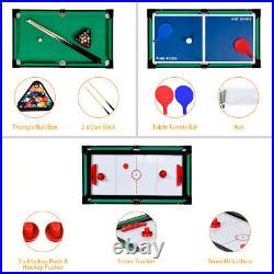 4 In 1 Multi Game Hockey Tennis Football Pool Table Billiard Foosball Gift