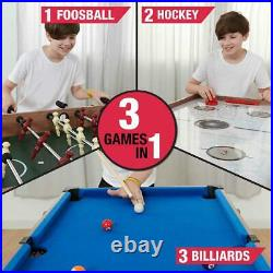 48In 3-In-1 Convertible Combo Family Game Table Foosball Soccer Billiards Pool