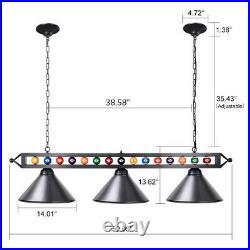 59 Billiard Light Fixture Pool Table Light Black Metal Billiard Chandelier NEW