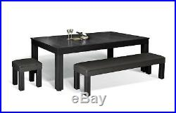 7' BLACK LUXURY CONVERTIBLE DINING POOL TABLE Billiard Dining Desk Fusion VISION