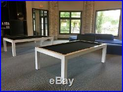 7' LUXURY CONVERTIBLE DINING POOL TABLE Billiard Dining Desk Fusion VISION White
