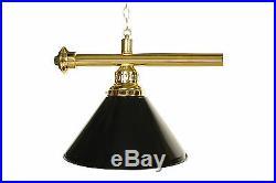 72 Brass Finish Billiard Pool Table Light lamp Brass Rod W Black Shades