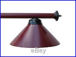 72 Metal Pool Table Light Billiard lamp Burgundy Black With Metal Shades