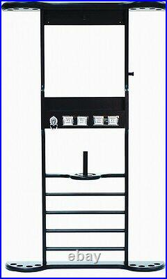 8 CUE WALL RACK with SCORERS for POOL TABLE / BILLIARD CUES / CUE STICKS BLACK