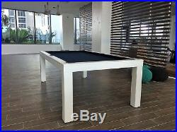 8' LUXURY CONVERTIBLE DINING POOL TABLE Billiard Dining Desk Fusion VISION White