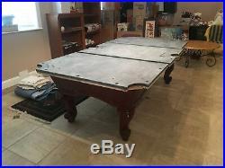 9 Pool table 3 slate mahogany wood green felt w Cover Billiards Light & extras