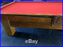 Antique 9-Foot Pool Table. Billiards pool table With Cues and Pool Ball