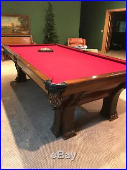 Antique Brunswick Billiards Pool Table 9' Pfister
