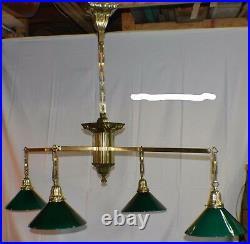 Antique Pool/Brunswick/Billiard Table Light Sheffield Brass Billiard Chandelier