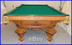 Antique Pool Table Brunswick / J E Came, Brilliant Novelty 9 ft. Birds-eye maple