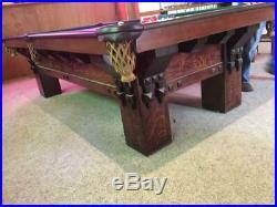 Antique St Bernard Mission 9' Tiger Oak Brunswick Pool Table