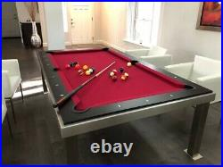 Aramith Brushed Stainless Steel w Brown Top Fusion Pool Table + Extras USED