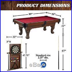 Barrington 90 Ball and Claw Leg Pool Table, Cue Rack, Dartboard, Burgundy NEW