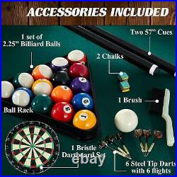 Barrington Billiard 84 Arcade Pool Table With Bonus Dartboard Set, Green