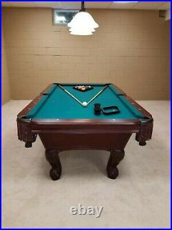 Beautiful Slate Pool Table, Stratford Manhattan, dark mahogany, 7 ft x 3.5 ft