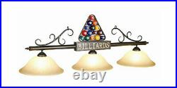 Billiards Pool Table Bar Light with Amber Glass Shades Bronze