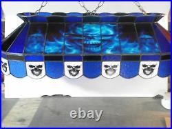Blue Billiard Billiards Ball Skull Stained Glass Pool Table Light Lamp