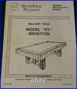 Brighton Brunswick pool table