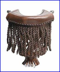 Brown Leather Fringe Pool Table Pockets (Set of 6)