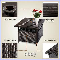 Brown Rattan Wicker Steel Side Table Outdoor Furniture Deck Garden Patio Pool