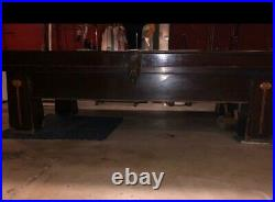 Brunswich-Balke Collender Antique Pool table. Multiple Pool Sticks, Olympic Size
