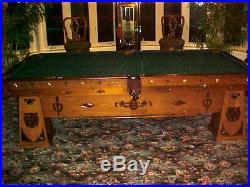 Brunswick Balke Collender Custom Antique 9' Billiard Pool Table Great Condition