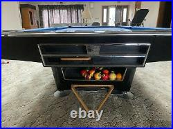 Brunswick Gold Crown 3 Pool Table Black Crown Rare 8 foot Grand Piano Finish