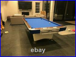 Brunswick Gold Crown I Pool Table 9 FOOT restored in white and royal blue