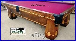 Brunswick MEDALIST 1923 Antique 9 Foot Pool Table 4 Leg Original Condition