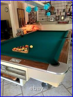 Brunswick Pool Table, Gold Crown I Vintage White withBalls And Cue Rack- MUST SELL