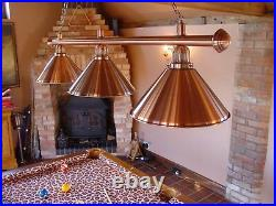 Canopy Lighting Pool/ Snooker Table Canopy Brushed Copper Bar and 3 Shades