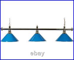 Canopy Lighting Pool Table Canopy Chrome Bar With 3 Blue Shades