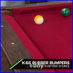 Classic 87 Pool Table Billiard Set Cues Balls Chalk Triangle Burgundy Cloth New