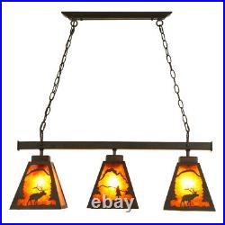 Cubby House Amber Mica 3-Light Dining Island / Pool Table Ceiling Pendant Light