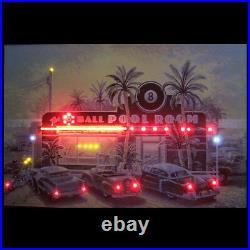 Eight ball pool room table neon LED sign poster billiards art wall lamp light
