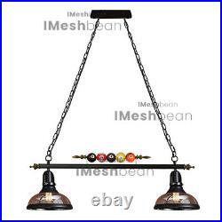 Hanging Pool Table Lights Fixture Billiard Pendant Lamp With 2 Glass Shades 31
