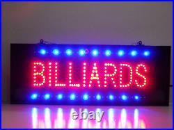 Huge Window Billiards pool room game room pool table LED sign Bar neon