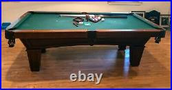 Immaculate 8' Brunswick Contender Series slate pool table. All accessories