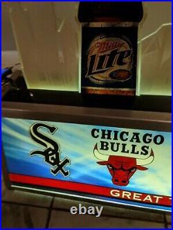Miller Lite Mgd Chicago Bears Sox Bulls Blackhawks Beer Pool Table Light Sign