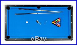 NEW 8' FOOT DELUXE HIGH QUALITY POOL TABLE with BLUE FELT TOP with Cue & Balls