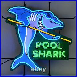 Neon sign Pool Shark Game room table Billiards wall lamp light hustler cue stick
