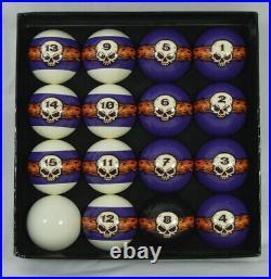 New Vigma Brand Flaming Skull Billiard Pool Table Complete Ball Set
