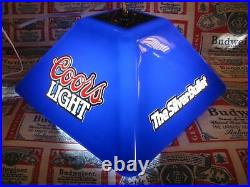 New Vtg 1989 Coor's Light Beer Electric Blue Logo Poker Pool Table Bar Sign Wow